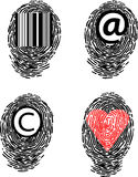 Set of allegory finger prints Royalty Free Stock Image