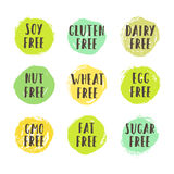 Set of allergen free badges. Can be used for packaging design. Vector illustration Royalty Free Stock Photos