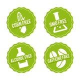 Set of Allergen free Badges. Corn free, GMO free, Alcohol free, Caffeine free. Vector hand drawn Signs. Can be used for packaging royalty free illustration