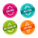 Set of Allergen free Badges. Egg free, Nut free, No Trans Fat, Soy free. Vector hand drawn Signs. Can be used for packaging Design Stock Images