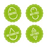 Set of Allergen free Badges. Egg free, Nut free, Soy free, No trans fat. Vector hand drawn Signs. Can be used for packaging Design. Set of Allergen free Badges Royalty Free Stock Photography