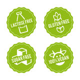 Set of Allergen free Badges. Lactose free, Gluten free, Sugar free, 100% Vegan. Vector hand drawn Signs. Can be used for packaging Stock Image