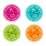 Set of Allergen free Badges. Lactose free. Vector hand drawn Signs. Can be used for packaging Design. vector illustration