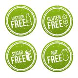 Set of Allergen free Badges. Lactose free, Gluten free, Sugar free, Nut free. Vector hand drawn Signs. Can be used for packaging D vector illustration