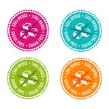 Set of Allergen free Badges. Sugar free. Vector hand drawn Signs. Can be used for packaging Design. vector illustration