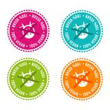 Set of Allergen free Badges. 100% vegan. Vector hand drawn Signs. Can be used for packaging Design. Set of Allergen free Badges. 100% vegan. Vector hand drawn Stock Image