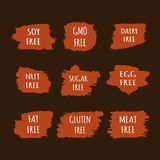 Set of allergen free stickers. GMO, meat, egg, gluten, soy, nut, fat, sugar, dairy. Stock Images