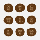 Set of allergen free stickers. GMO, soy, meat, egg, gluten, nut, fat, dairy, sugar. Royalty Free Stock Images