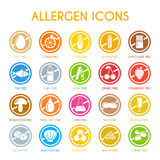 Set of allergen icons. Allergen icons with free egg, citrus, corn, fish, soya, cherry and other Stock Photography