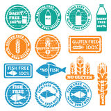 Set of allergen icons vector. Set of grunge stamps with allergen icons. Gluten, fish, dairy, lactose free icons . Vector illustration Stock Photography