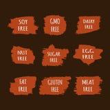 Set allergen uwalnia majcherów GMO, mięso, jajko, gluten, soja, dokrętka, sadło, cukier, nabiał Obrazy Stock