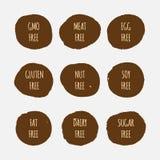 Set allergen uwalnia majcherów GMO, soja, mięso, jajko, gluten, dokrętka, sadło, nabiał, cukier ilustracji