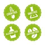 Set allergen uwalnia odznaki Kukurudza uwalnia swobodnie, GMO, alkohol swobodnie, kofeina swobodnie Wektorowa ręka rysujący znaki royalty ilustracja