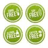 Set allergen uwalnia odznaki Kukurudza uwalnia swobodnie, soje, alkohol swobodnie, Caffein swobodnie Wektorowa ręka rysujący znak ilustracji