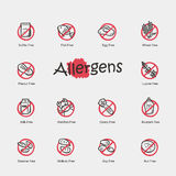 Set of allergens icons Stock Photo