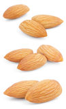 Set of almond nuts on white Stock Images