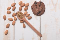 Set of almonds and chocolate chip cookie Royalty Free Stock Images