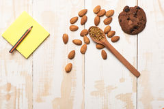 Set of almonds and chocolate chip cookie Royalty Free Stock Photos