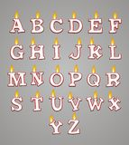 Set of alphabet candle with red colour Stock Photos