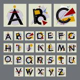 Set of alphabet with capital letters, made up of simple geometric shapes royalty free illustration