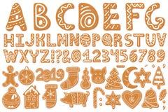 Set of alphabet holidays gingerbread cookies stock illustration