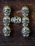 Set alphabet of letters from metal skulls - Halloween Royalty Free Stock Photo