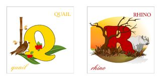 Set of Alphabet letters, Q-R Stock Image