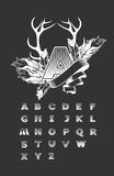 Set of alphabet letters. Vector set of alphabet letters squared, on a black background capitalized the first letter is decorated with feathers and ribbon Royalty Free Stock Image