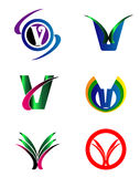Set Of Alphabet Symbols And Elements Of Letter V, such a logo Royalty Free Stock Image