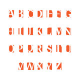 Set of alphabet symbols, icons, orange. On white background Stock Image