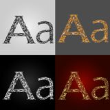 Set of alphabet visual styles. The letter a. Lettering Royalty Free Stock Image