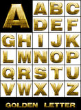 SET, Alphabetical letters in gold metal Stock Image