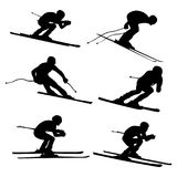 Set alpine skiing. Athlete black silhouette Royalty Free Stock Images