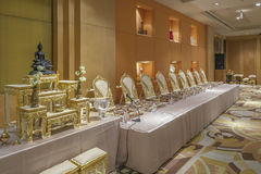 Set of  altar table and monk 's seats  are in Thai wedding cultur Stock Images