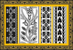 Set alte indianische Blumenmuster Stockbild