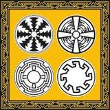 Set alte indianische Muster Stockfoto