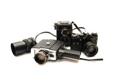 Set alte Kameras auf einem weißen Hintergrund Stockfoto