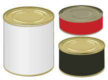 Set of aluminium colored label cans for signing Stock Image