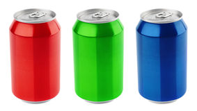 Set of aluminum cans stock photo