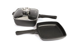 Set of aluminum grill pans Royalty Free Stock Photos