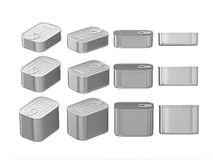 Set of aluminum rectangle  tin cans in various sizes, clipping p. Set of  aluminum rectangle  tin cans in various sizes . General can  packaging  with  blank Royalty Free Stock Photo