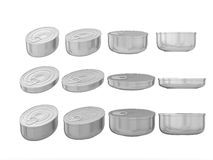 Set of aluminum round bottom oval tin cans in various sizes, cli Stock Images