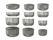 Set of aluminum round bottom tin cans in various sizes, clipping Stock Image