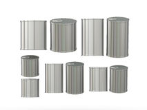 Set of aluminum  tin cans in various sizes, clipping path includ. Set of blank tin cans in various sizes . General can  packaging  with white blank label  for Royalty Free Stock Photography