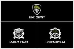 Set of simple military skull with rifle vector logo template stock illustration