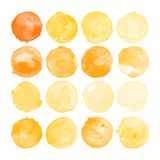 Set of amber watercolor shapes. Set of watercolor shapes. Watercolors blobs. Set of colorful watercolor hand painted circle isolated on white. Illustration for royalty free illustration