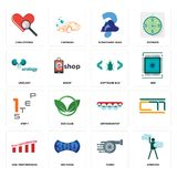 Set of ambition, turbo, high performance, orthodontist, step 1, software bug, urology, scratching head, cholesterol icons. Set Of 16 simple editable icons such Stock Photography