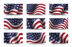 Set of america flag background collection . waving design . Ratio 16 : 9 . 4th of July independence day concept . Vector royalty free illustration
