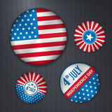 Set of american  badges - independence 4 July Stock Photos