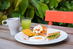 Set of american breakfast with coffee and juice Stock Photos